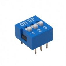 Dip Switch 3 Vias 180º Azul