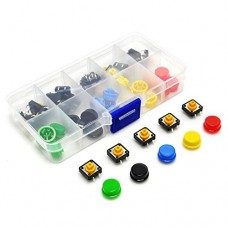 Kit Push Button 12x12 com Capas Coloridas 25 Unidades + Case